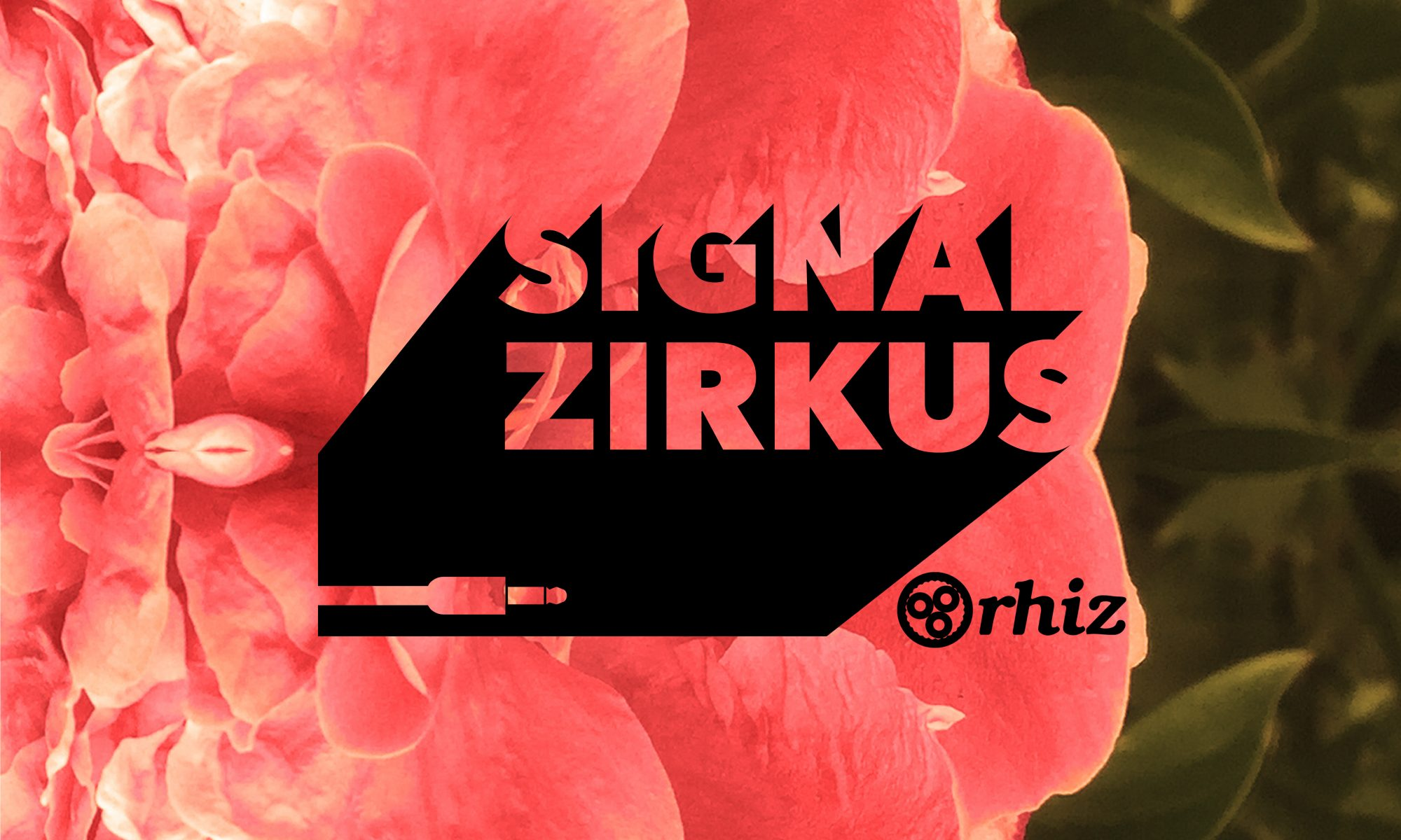 Mirrored red flower with Signal Zirkus Logo and Rhiz Logo